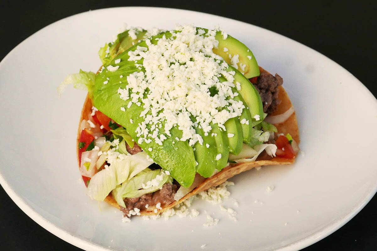 Avocado, Bean and Beef Tostada