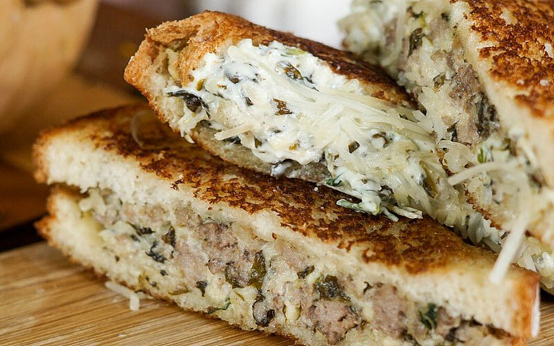 Beef & Spinach Grilled Cheese