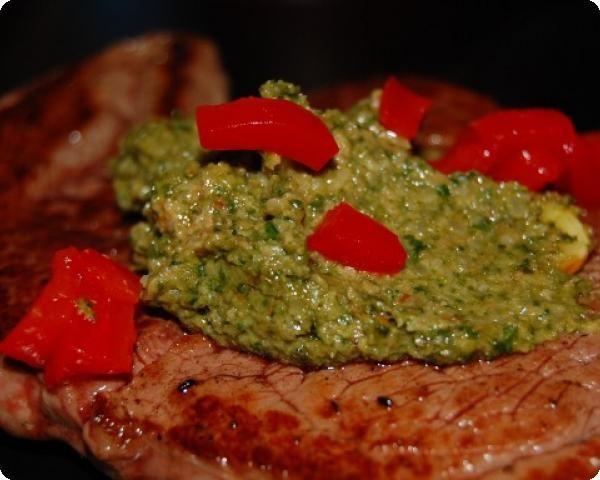 Beef Tenderloin with Almond Spinach Pesto