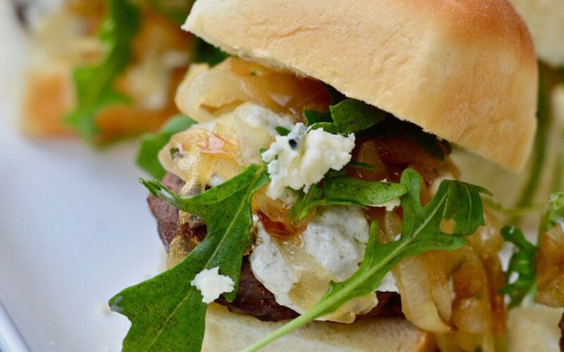 Caramelized Onion, Blue Cheese and Arugula Sliders