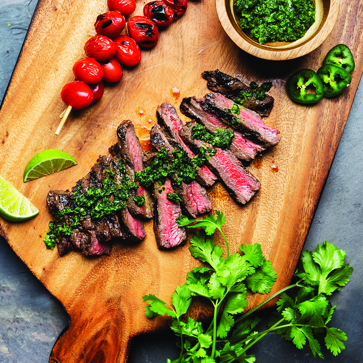 Grilled Grass-Fed Sirloin with Cilantro Chimichurri & Blistered Tomatoes