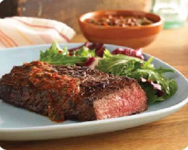 Grilled Sirloin Steak with Spicy Rub and Chipotle Sauce