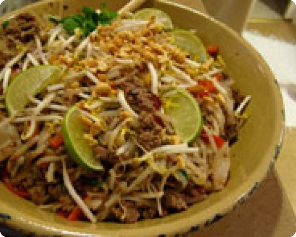 Ground Beef with Peanut Sauce and Rice Noodles