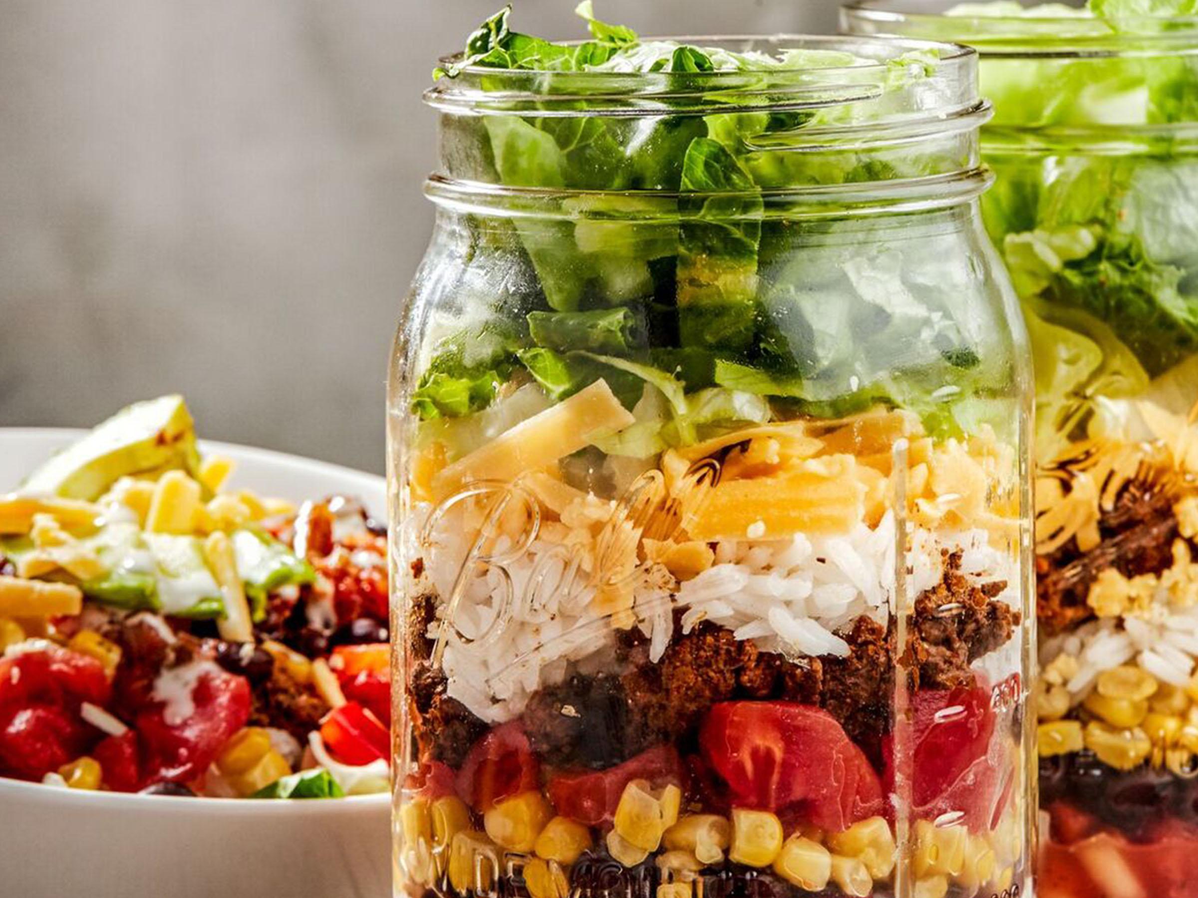 Mason Jar Taco Salads