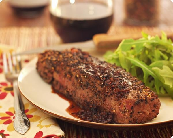 Pan-Seared Steak w/ Wine Reduction Sauce