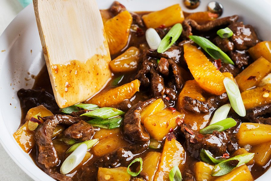 Pineapple-Orange Beef Stir Fry