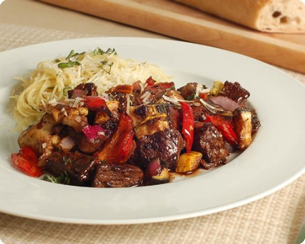 Sirloin with Balsamic Glazed Roasted Vegetables