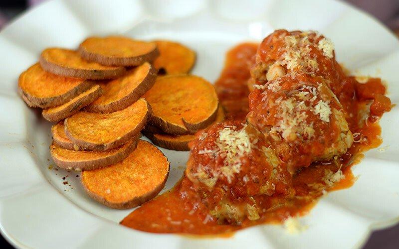 Jen Widerstrom's Slow Cooker Turkey Meatballs with Baked Sweet Potato Chips