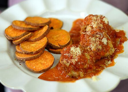 Jen Widerstrom's Slow Cooker Turkey Meatballs with Baked Sweet Potato Chips