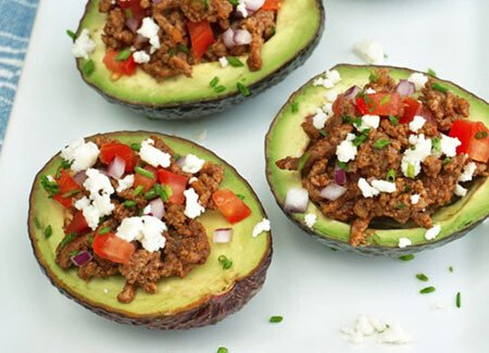 Spicy Beef Taco Stuffed Avocados