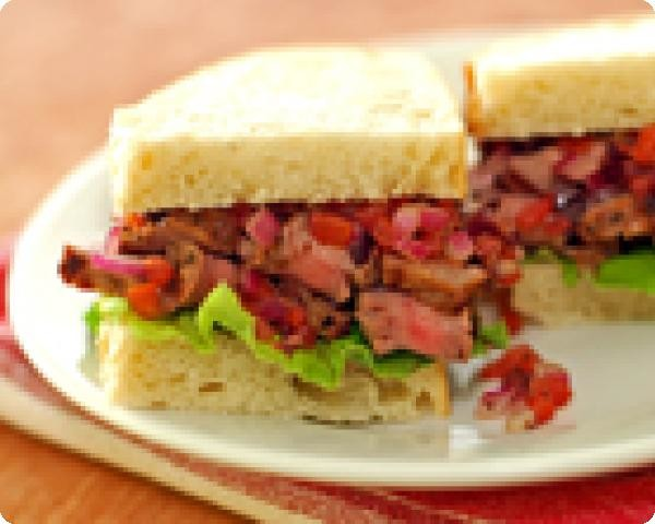 Steak Sandwiches with Olive Relish